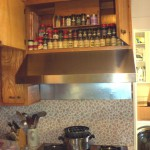 Completed, with the stepped spice shelves in place. Ta Da!